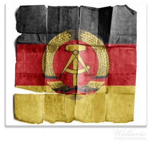 DDR Flagge altem Papier Wallario Herdabdeckplatte 1-teilig aus Glas 60x52cm