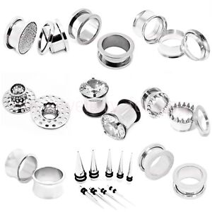 SILVER-FLESH-TUNNEL-EAR-PLUG-STAINLESS-STEEL-DEFENDER-STRETCHER-10-TYPE-16-SIZES