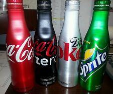 Lot of 4 Aluminum Bottles - 8 oz Unopened - Coca Cola, Diet Coke, Sprite, Zero