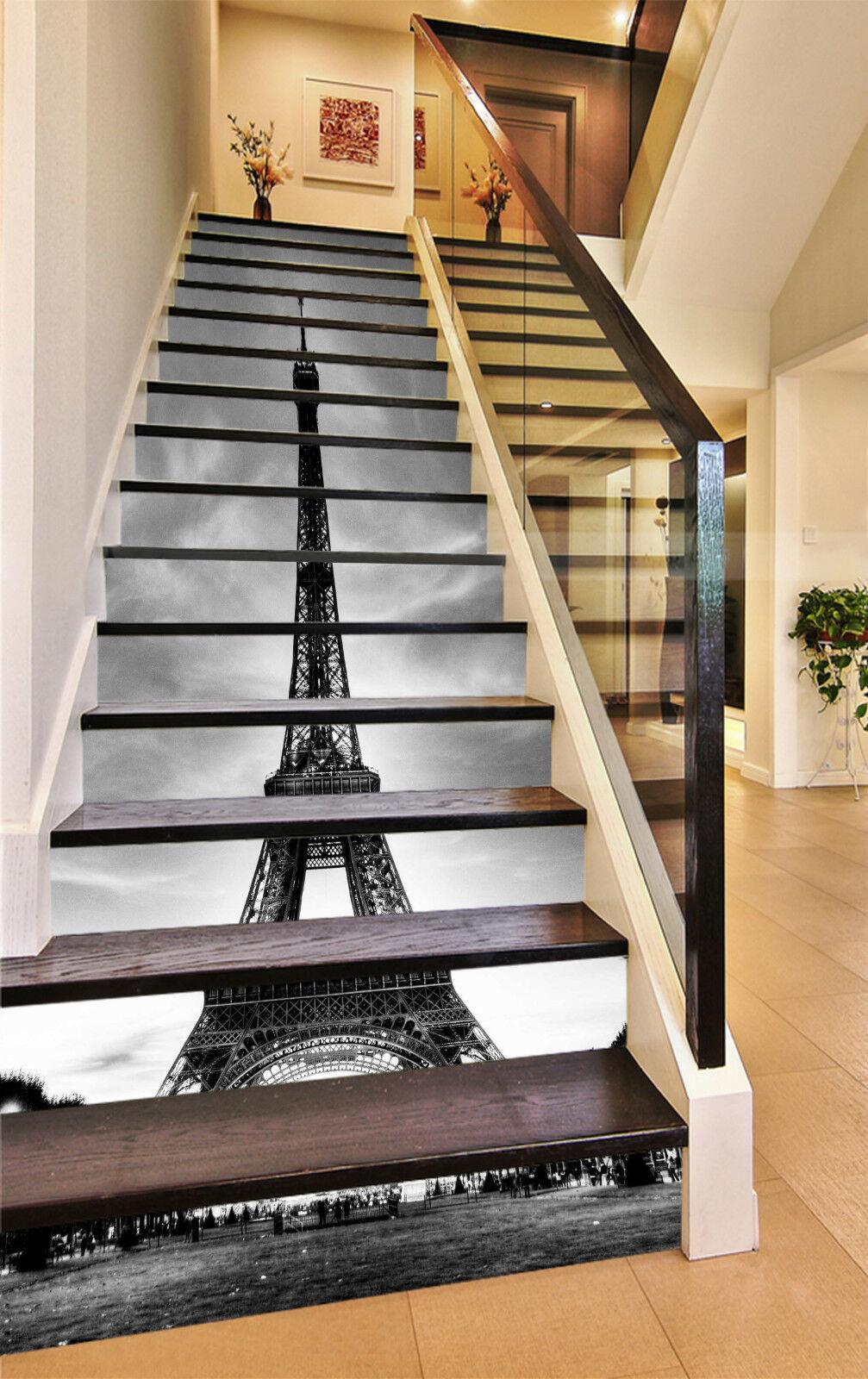 3D Eiffelturm 225 Stair Risers Dekoration Fototapete Vinyl Aufkleber Tapete DE