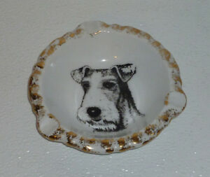 Airedale-Terrier-Ashtray-By-Audre-Ceramics-Vtg-Dog-Gold-Trim-5-5-034