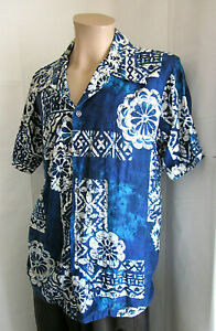 KIMO-039-S-POLYNESIAN-SHOP-Men-039-s-Vintage-Blue-White-Aloha-Hawaiian-Shirt-M-Medium
