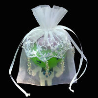4 X 6 Embroidered Lace Beaded Organza Wedding Favor Bag-24/pk