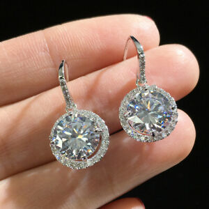 925-Silver-Round-Zircon-Earrings-White-Sapphire-Drop-Hook-Earrings-Jewelry