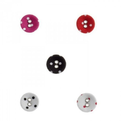 5 x Printed Polka Dot Spot Lignes Buttons 15mm