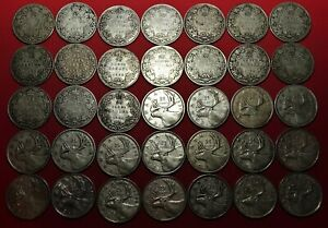 1920-1947-LOT-of-35-Canada-SILVER-25-CENTS-Coins-35-Canadian-Quarters