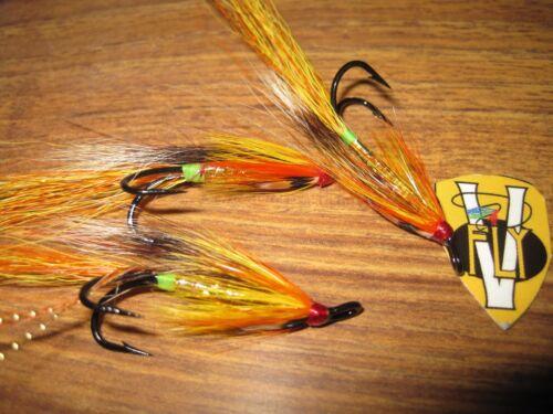 3 V Fly Size 4 Alta Sautso Golden Shrimp Double Salmon Flies