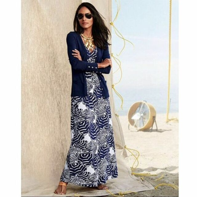 Lilly Pulitzer Sloane In Oh Cabana Boy Bright Navy Print Maxi Dress