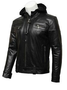 Brandslock Mens Genuine leather biker jacket Hooded