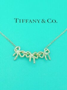 TIFFANY-amp-CO-Sterling-Silver-18K-Gold-Triple-Bow-Ribbon-Pendant-Necklace-17-034