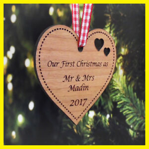 Personalised First 1st Christmas Mr Mrs Married Xmas Tree