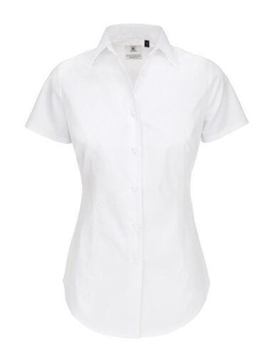 B/&C Damen Bluse Hemd POPLIN SHIRT BLACK TIE SHORT SLEEVE Neu SWP24
