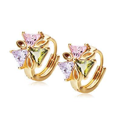 Womens Cute Triangle Lucky Flower Hoop Earrings Crystal Jewelry Fashion Earings