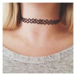 Tattoo-Choker-Stretch-Necklace-Black-Retro-90s-Vintage-Elastic-Gothic-UK-Boho
