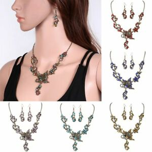 Fashion Rhinestone Crystal Necklace Earrings Jewelry Set For Women Wedding Gifts
