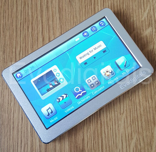 "EVO SILVER 80GB 4.3"" TOUCH SCREEN MP5 MP4 MP3 PLAYER DIRECT PLAY VIDEO + TV OUT"
