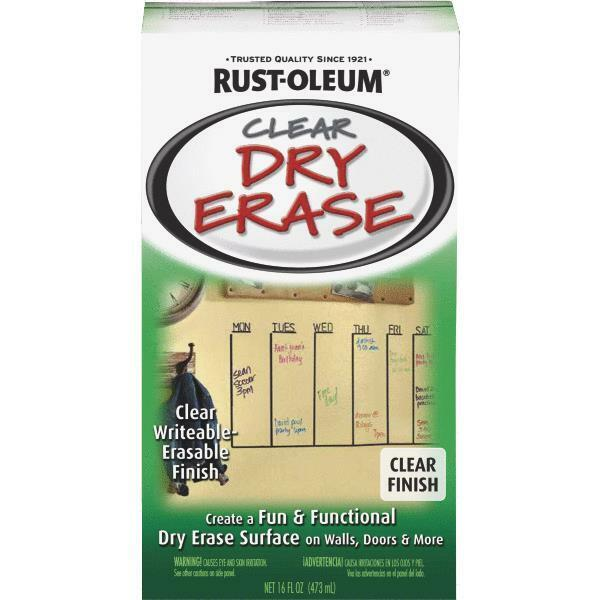 2-RustOleum Clear Dry Erase Drywall Masonite Wood Cement Metal Paint Kit 284637