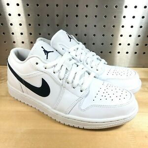 New-Men-039-s-Nike-Air-Jordan-1-Low-553558-114-White-Obsidian-Size-11-5
