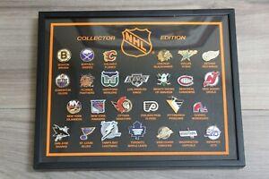 Vintage-NHL-Logo-Pins-Collector-Edition-Set-Framed