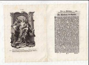 Kupferstich I.W. Baumgartner um 1750 Heiliger Apostel Matthias
