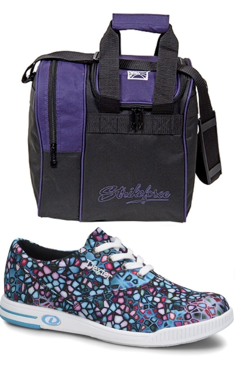 Womens Dexter KERRIE Multi-color Bowling shoes Sizes 6-11 & Purple 1 Ball Bag