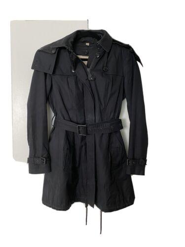 Women's Black Burberry Trench Coat With Hood