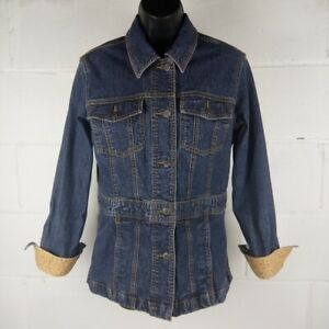 Eddie-Bauer-Denim-Jacket-Women-Size-S-Blue-Stretch-Floral-Cuff
