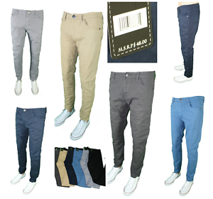 Mens-Denim-Culture-Skinny-Slim-Fit-Stretch-Chino-Pants-Comfy-Casual-Trousers-NEW