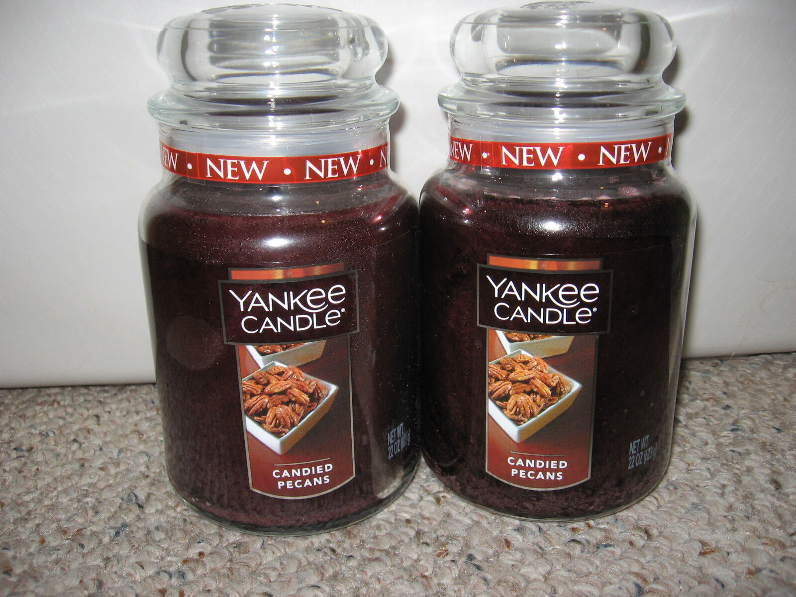 Yankee Candle CANDIED PECANS 22oz Large Jar Candle Set of 2 NEW
