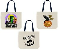 3-Pack Canvas Halloween Tote Bag