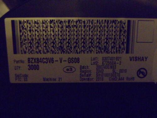 * 100 pièces * NOUVEAU Vishay z-Diode bzx84c3v6-v-gs08 sot23 smd