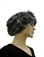 Black Frosted  Rex Rabbit Fur Multi-purpose  Scarf Hat Headband  23''