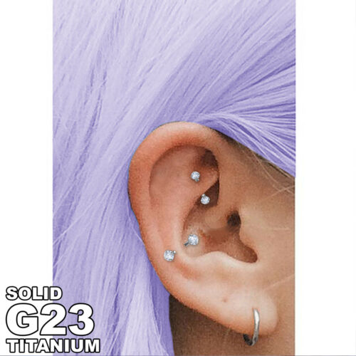 SPARKLE G23 TITANIUM Silver Micro Curved Barbells Rook Rings Cartilage Piercings