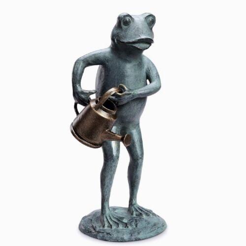 """Gardener Green Thumb Frog With Watering Can Metal Garden Statue Sculpture 19/""""H"""