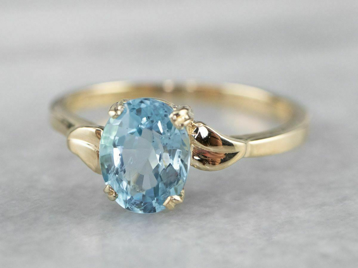 Blue Topaz Gold Solitaire Ring - image 3