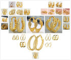 Fashion Women's Jewelry 18K Yellow Gold Filled Dangle Wedding Hoop Earrings Gift