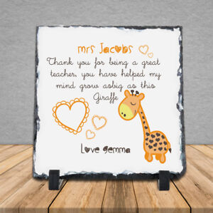 Personalised Handmade Thank You Teacher Giraffe Zoo Rock Slate