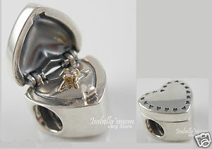 808356fa3 Details about GIFT FROM THE HEART Genuine PANDORA Silver/14K GOLD Valentine RING  Box CHARM NEW