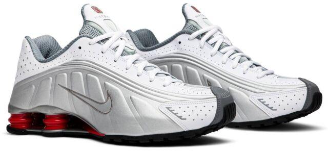 Nike Shox R4 Mens Running Shoes Size 11 White Metallic Silver Red Bv1111-100