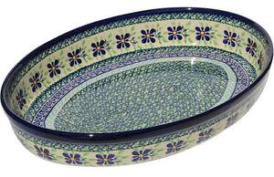 Polish Pottery Oval Baker from Zaklady Boleslawiec 350/du121