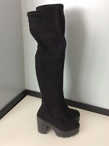 Black Skinny Suede Thigh Knee Uk Stretch Over 3 Faux Island 36 River Boots 5qIAq