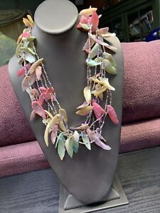 Vintage Bohemian Multi Strand Pastel Coloured Beach Sundress Style Necklace