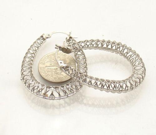 "1 1//2/"" Technibond Large Filigree Pear Shape Hoop Earrings Platinum Clad Silver"