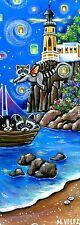 Original Raccoon Kitten Ocean Lighthouse Sky Lanterns Boat Double ACEO Painting