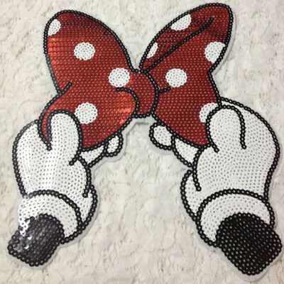 Embroidered Iron On Patches Bowknot Sequins Deal Clothing DIY Applique ESUS