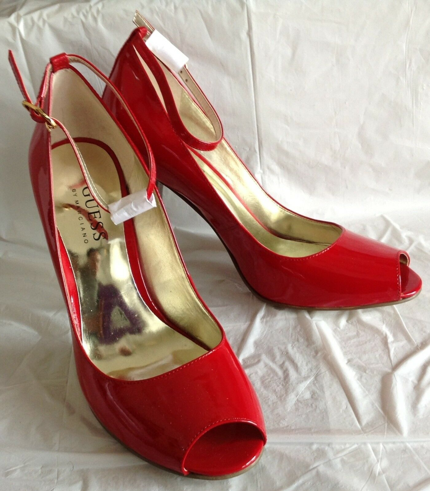 NWOB, NWOB, NWOB, Guess heels, Falballa design, red patent leather, ankle strap, size 7M 9666ef