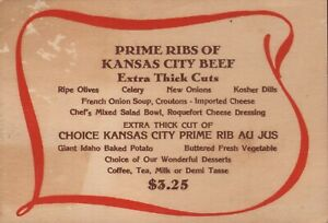 VINTAGE PRIME RIBS OF KANSAS CITY BEEF Menu Card KANSAS CITY