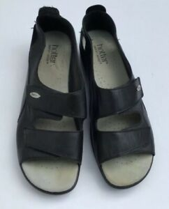 HOTTER-FLORENCE-BLACK-LEATHER-COMFORT-CONCEPT-SANDALS-SHOES-UK-SIZE-8-EU-42-VGC