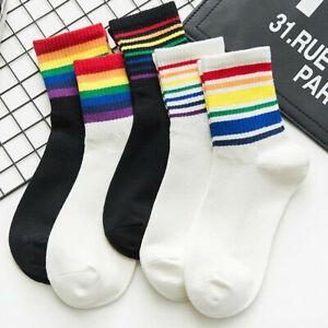 Moda-Unisex-Cotone-Rainbow-calze-a-righe-Xmas-Fashion-Warm-Chrismas-Calzini