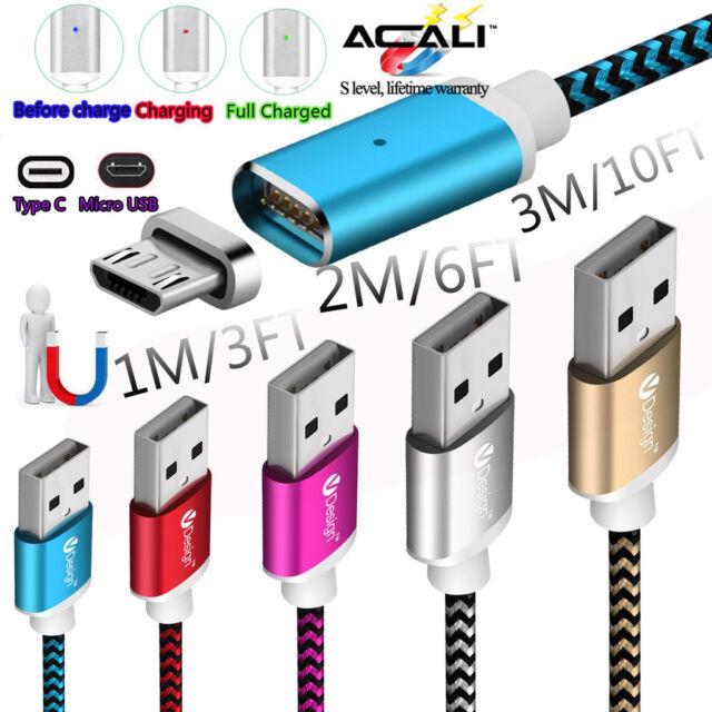1M 2M 3M Magnétique Chargeur Type C Micro USB Câble Pour Samsung Galaxy S6 S7 S8